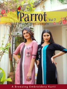ARADHNA PARROT VOL 7 HEAVY RAYON WITH EMBROIDERY WORK FANCY KURTIS WHOLESALE CATALOGUE