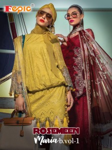 FEPIC ROSEMEEN MARIA B VOL 1 PURE COTTON WITH EMBROIDERED WORK PAKISTANI STYLE SUITS WHOLESALE CATALOGUE