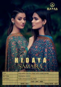 HANSA HIDAYA SAMAIRA PASHMINA DIGITAL PRINT WITH WITH HAND WORK SALWAR KAMEEZ WHOLESALE CATALOGUE