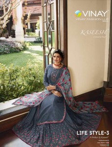 VINAY FASHION KASEESH LIFESTYLE 3 MUSLIN SATIN REGAL STYLE SHARARA STYLE SALWAR SUIT WHOLESALE CATALOGUE