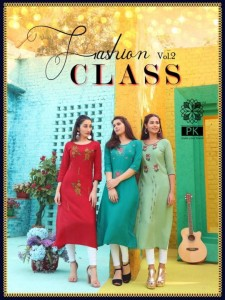PK FASHION CLASS VOL 2 HEAVY RAYON WITH EMBROIDERY WORK KURTIS WHOLESALE CATALOGUE