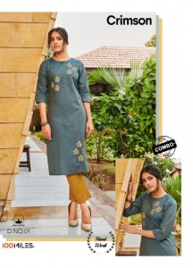 100 MILES CRIMSON WITH BOTTOM COMBO COTTON CATCHY LOOK KURTI WITH PANT WHOLESALE CATALOGUE