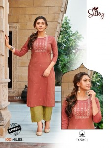 100 MILES SILKY WITH BOTTOM COMBO COTTON ASTONISHING STYLE KURTI WITH PANT WHOLESALE CATALOGUE