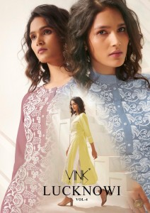 VINK LUCKNOWI VOL 4 PURE RAYON WORK WITH CHIFFLI SEQUENCE WORK KURTIS WHOLESALE CATALOGUE