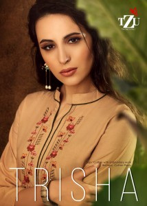TZU LIFESTYLE TRISHA PINTEX HEAVY COTTON WITH EMBROIDERED STRAIGHT STYLE KURTIS WHOLESALE CATALOGUE