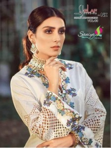 SANIYA TRENDZ ELAAF NX VOL 3 PURE CAMBRIC COTTON WITH CHICKENKARI WORK PAKISTANI SUITS WHOLESALE CATALOGUE