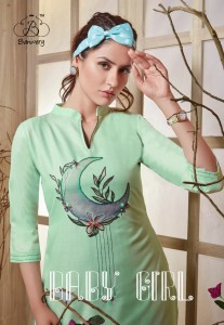 BANWERY BABY GIRL HEAVY COTTON WITH DIGITAL PRINT HANDWORK KURTIS WHOLESALE CATALOGUE