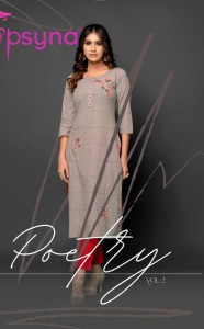 PSYNA POETRY VOL 2 COTTON ASTONISHING LOOK KURTI WITH PANT WHOLESALE CATALOGUE