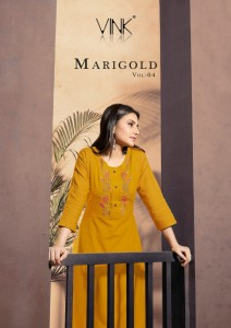 VINK MARIGOLD VOL 4 LINEN COTTON HANDWORK DECENT LOOK KURTI WITH PLAZZO CATALOGUE AT WHOLESALE RATE