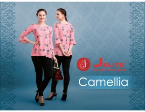 JELITE CAMELLIA RAYON AND COTTON FANCY DESIGNER CASUAL WEAR SHORT TOPS CATALOGUE AT WHOLESALE RATE