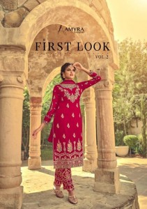 AMYRA DESIGNER FIRST LOOK VOL 2 HEAVY GEORGETTE WITH HEAVY EXCLUSIVE EMBROIDERY WORK PAKISTANI SUITS WHOLESALE CATALOGUE