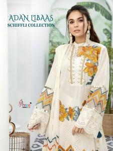 SHREE FABS ADAN LIBAAS SCHIFFLI COLLECTION PURE COTTON WITH HEAVY EMBROIDERY WORK PAKISTANI SUITS WHOLESALE CATALOGUE