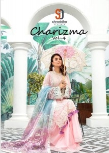SHRADDHA DESIGNER CHARIZMA VOL 4 CAMBRIC COTTON WITH CHICKEN EMBROIDERY WORK PAKISTANI SUITS WHOLESALE CATALOGUE