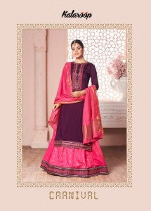 KALAROOP CARNIVAL LINING SILK WITH FANCY WORK WEDDING WEAR LEHENGAS WHOLESALE CATALOGUE
