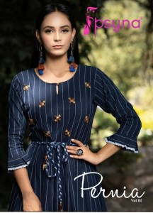 PSYNA PERNIA VOL 1 COTTON WITH EMBROIDERED HANDWORK FANCY PARTY WEAR LONG KURTIS WHOLESALE CATALOGUE