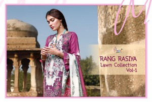 SHREE FABS RANG RASIYA LAWN COLLECTION VOL 1 PURE COTTON WITH EMBROIDERY WORK PAKISTANI SUITS WHOLESALE CATALOGUE