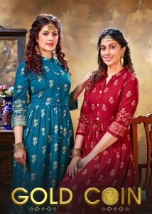 FASHION TALK GOLD COIN VOL 2 RAYON FANCY DESIGNER LONG GOWN STYLE KURTIS WHOLESALE CATALOGUE