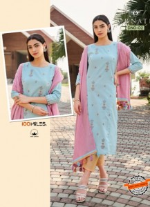 100 MILLES ORNATE COTTON INNOVATIVE STYLE KURTIS WITH PANTS AND DUPATTA WHOLESALE CATALOGUE