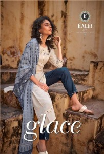 KALKI FASHION GLACE PURE RAYON WITH EMBROIDERY WORK FANCY DESIGNER CASUAL WEAR KURTIS CATALOGUE