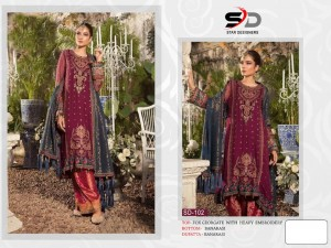 STAR DESIGNERS SD 102 FOX GEORGETTE WITH HEAVY EMBROIDERY WORK PAKISTANI STYLE SUITS SINGLES