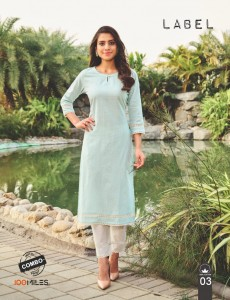 100 MILES LABEL COTTON DECENT SELF WORK KURTI WITH PANT CATALOGUE