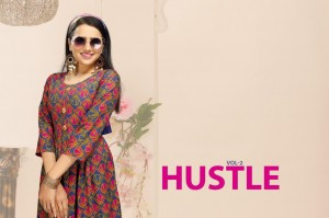 FASHION TALK HUSTLE VOL 2 RAYON PRINT FANCY DESIGNER FROCK STYLE KURTIS CATALOGUE