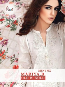 SHREE FABS MARIYA B OLD IS GOLD CAMBRIC COTTON WITH HEAVY SELF EMBROIDERY WORK PAKISTANI SUITS CATALOGUE