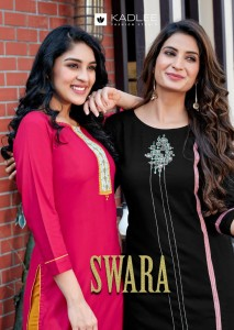 KADLEE SWARA HEAVY RAYON REGULAR WEAR KURTIS WITH COTTON SLUB PANTS CATALOGUE