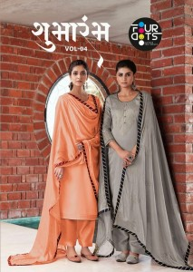 FOUR DOTS SHUBHARAMBH VOL 4 MODAL SATIN WITH FANCY 3MM SEQUENCE EMBROIDERY WORK SALWAR SUITS CATALOGUE