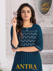 RIJIYA TRENDS ANTRA VOL 3 RAYON WEAVING STRIPS WITH EMBROIDERY WORK REGULAR WEAR KURTIS CATALOGUE