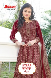 BIPSON KYRAA MAROON COTTON SLUB PRINT DRESS MATERIAL SALWAR SUITS CATALOGUE