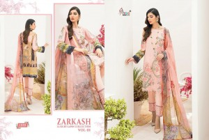 SHREE FABS ZARKASH LUXURY LAWN COLLECTION VOL 1 LAWN COTTON PRINT WITH EMBROIDERY WORK PAKISTANI SUITS CATALOGUE