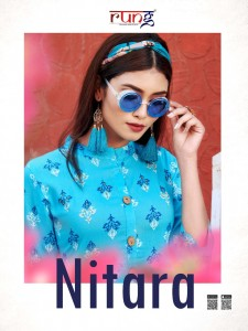 RUNG NITARA HEAVY RAYON PRINT WITH MANUAL HANDWORK KURTIS AND PANTS CATALOGUE