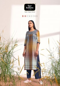 FOUR BUTTONS BIG CHECKS PURE COTTON WEAVING WITH EMBROIDERY WORK FANCY DESIGNER KURTIS CATALOGUE