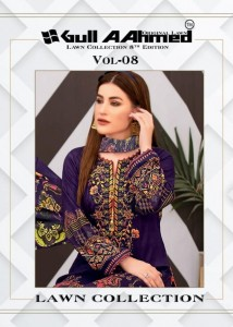 GULL AAHMED VOL 8 PURE LAWN COTTON FABRIC PAKISTANI STYLE COLLECTION SALWAR SUITS CATALOGUE