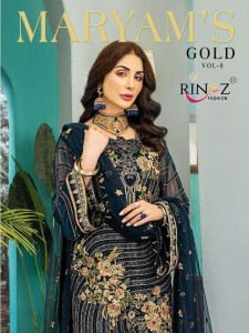 RINAZ FASHION MARYAMS GOLD VOL 8 FOX GEORGETE WITH HEAVY EMBROIDERY DAIMOND WORK PAKISTANI SUITS CATALOGUE