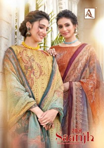 ALOK SUIT SAANJH JAM COTTON DIGITAL PRINT WITH SWAROVSKI DAIMNOD WORK SALWAR SUITS CATALOGUE