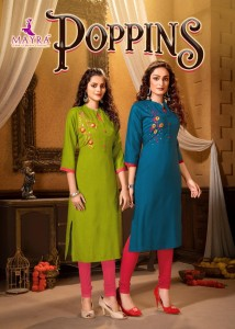 MAYRA POPPINS RAYON SLUB WITH MANUAL EMBROIDERY HANDWORK REAGULAR WEAR KURTIS CATALOGUE