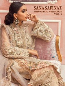 SHREE FABS SANA SAFINAZ EMBROIDERED COLLECTION VOL 3 EMBROIDERED NET PAKISTANI SUITS CATALOGUE