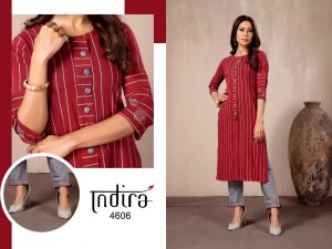 INDIRA IN LINE COTTON WEAVED WITH EMBROIDERY WORK FANCY DESIGNER KURTIS WITH POCKET CATALOGUE