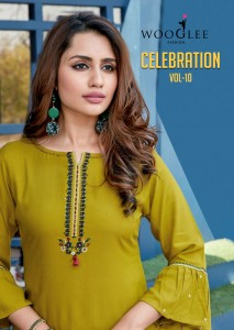 WOOGLEE CELEBRATION VOL 10 HEAVY RAYON WITH EMBROIDERY HANDWORK KURTIS CATALOGUE