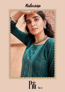 KALAROOP KAJREE PILI VOL 2 FANCY LINING WITH WORK DESIGNER KURTIS CATALOGUE