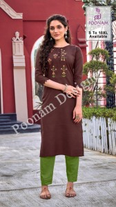 POONAM DESIGNER DIVA VOL 10 COTTON SLUB WITH DESIGNER WORK REGULAR WEAR KURTIS CATALOGUE
