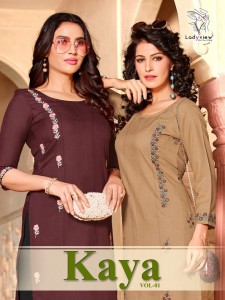 LADYVIEW KAYA VOL 1 MAGIC SLUB WITH HEAVY VALUE EMBROIDERY WORK KURTIS CATALOGUE