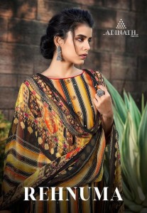 ADINATH PRINTS REHNUMA JAM COTTON DIGITAL PRINT WITH KHATLI WORK DRESS MATERIAL SUITS CATALOGUE