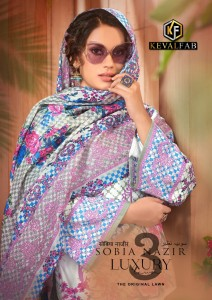 KEVAL FAB SOBIA NAZIR LUXURY VOL 3 PURE LAWN COLLECTION DRESS MATERIAL SUITS CATALOGUE