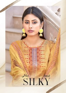 BIPSON SILKY COTTON SATIN DIGITAL PRINT WITH SEQUENCE EMBROIDERY WORK DRESS MATERIAL SUITS CATALOGUE