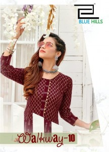 BLUE HILLS WALYWAY VOL 10 HEAVY RAYON WITH GOLD PRINT LONG GOWN STYLE KURTIS CATALOGUE