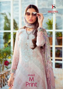 DEEPSY SUIT MARIA B M PRINT PURE COTTON PRINT WITH EMBROIDERY WORK PAKISTANI SUITS CATALOGUE