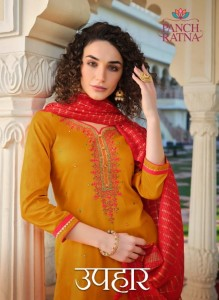 PANCH RATNA UPHAAR COTTON SATIN WITH EMBROIDERY WORK REGULAR WEAR SALWAR SUITS CATALOGUE
